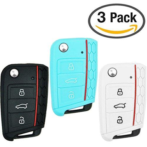 Keycarry® 3 PIEZAS funda de mando - el accesorio perfecto para proteger el telemando de tu coche - para llaves de coche Volkswagen VW Golf 7 Mk7 Skoda Octavia 3 A7 - 3 botones (Negro, blanco, neón azul)