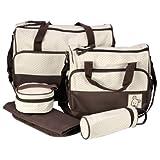 Set 5 kits Bolsa de Mama Para Bebe Biberon Bolso/Bolsa/Bolsillo Maternal Bebé para carro carrito biberón colchoneta comida pañal de color marrón
