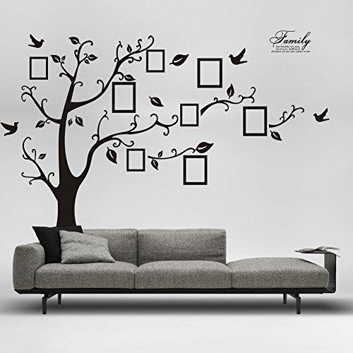 Adesivi per pareti nero 200 * 250cm adesivi rimovibili (completato) Foto Albero di memoria Picture Tree Adesivi impermeabile disegni murali Camera Ufficio Sfondo per la casa Adesivi Soggiorno