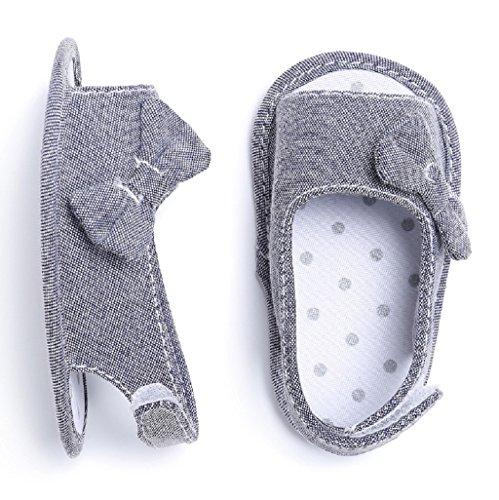 Baby Schuhe Auxma Baby Mädchen Bowknot Schuhe Soft Sole Kleinkind Krippe Schuhe für 3-6 6-12 12-18 Monat (6-12 M, Gelb) Grau