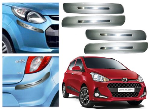 Auto Pearl Premium Quality Car Silver Chrome Bumper Safety Guard Protector - Hyundai I10 Grand 2017- Set of 4Pcs  available at amazon for Rs.699
