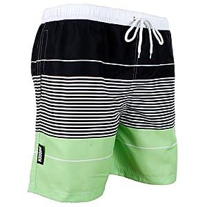 GUGGEN Mountain Herren Badeshorts Beachshorts Boardshorts Badehose Schwimmhose Männer grün lila gestreift Print*