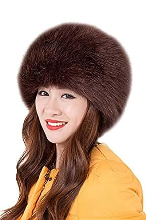 Genda 2Archer Donna Moda Russian Style Cappello Rotondo Faux Fur Hat (Caffè)