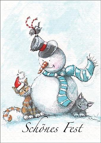 Niedliche Weihnachtskarte mit Schneemann und Katze, die ein schönes Fest wünschen. • auch zum direkt Versenden mit ihrem persönlichen Text als (Katze Weihnachtskarten)