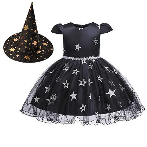 Kinder Muster Kostüm Stern - GLXQIJ Kinder Mädchen Halloween Hexe Kostümparty Süßes Kostüm, Stern Muster Mesh Material, Kleid & Hut, 5-10 Jahre,Black,80CM