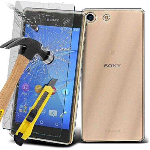 Étui pour Sony Xperia M5 / Sony Xperia M5 E5603, E5606, E5653 Titulaire de téléphone Case voiture universel Mont Cradle Dashboard & pare-brise pour iPhone yi -Tronixs TPU clear case+ TempeRed + Glass