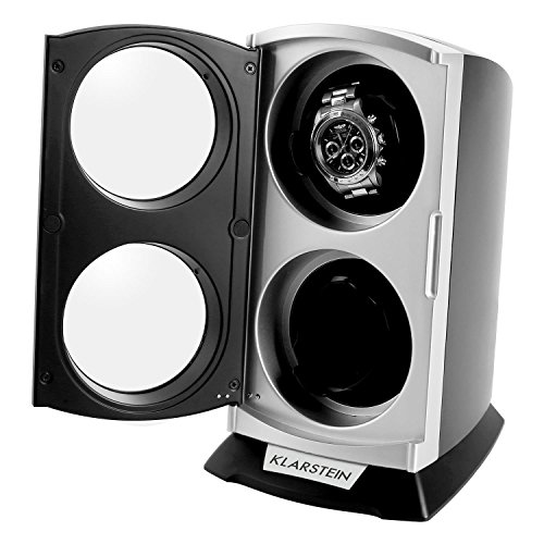 Klarstein St.Gallen Premium Uhrenbeweger vertikale Uhrenbox (für 2 Uhren, LED Beleuchtung, flüsterleise, 4 Rotationsprogramme, 3 Drehmodi) schwarz-blau - 4