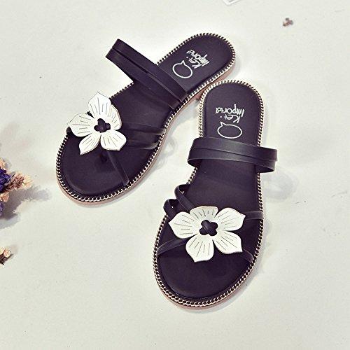 Longra Donna Sandali Strap Flower Flats Nero