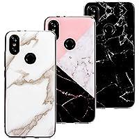 3 x Fundas Mármol para Xiaomi Mi A2, Wanxideng Carcasa de Silicona Opaco Liso - Funda Ligero Delgado Suave - Marble Matt Case Cover [ Negro + Blanco + Rosa ]