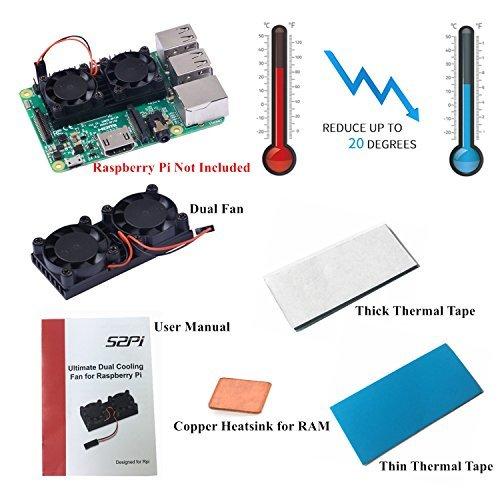 GeeekPi Kit de Refroidissement à Double Ventilateur pour radiateur de Ventilateur pour Raspberry Pi 3/2, modèle B, Compatible NESPI Case Plus (V1.0 Pas pour Pi 3B +)