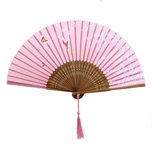 ROSENICE Schmetterling Sakura Muster Bambus Faltbar Handfächer 21 CM (rosa) -