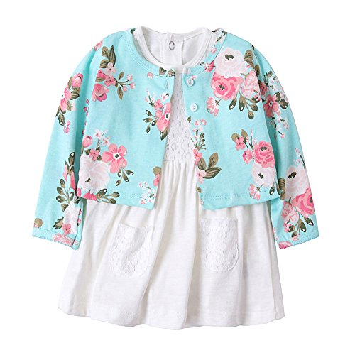 ZHUANNIAN Baby Mädchen Bekleidungssets Blumen Body-Kleid Kleider and Baumwolle Mantel 2 Tlg. Outfits (62, Baby Blau) (Spiele Kleider Verkauf)