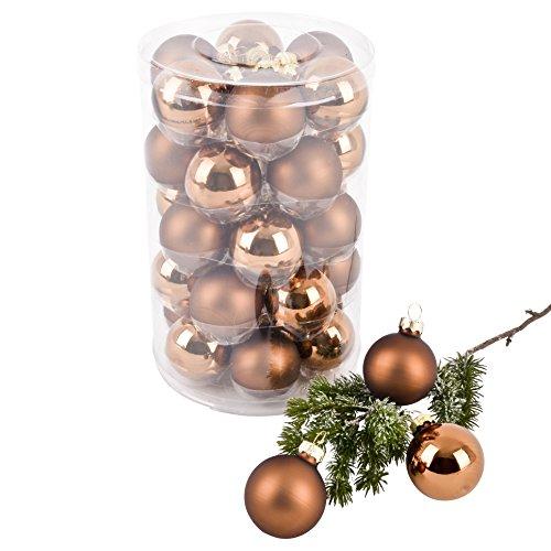 Dadeldo Living & Lifestyle Weihnachtskugel Premium 30er Set Glas 4cm Xmas Baumschmuck (Braun)