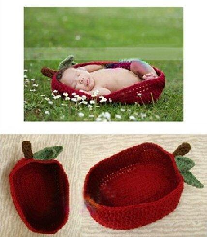 Cute Baby Newborn Infant handgefertigt Crochet Beanie Hat Rot Apple Style Baby Kleidung fotografiert Zubehör, Cartoon Fashion Kinder Fotografie Requisiten Foto Requisiten Kostüm Kleidung tragen (geeignet für Babys 0–46Monate zu (Kostüme Apple Kind)