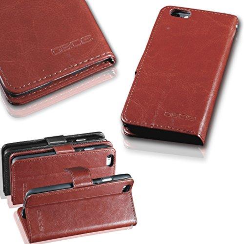 For APPLE iPHONE SE -Echte Rich-Leder-Standplatz Mappen-Schlag-Fall-Abdeckung (speziell angefertigten - Premium-Qualität) Antique Leather Case Black