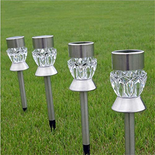 Solar Gartenlampe Led Wasserdichte Taschenlampe Solar Rasen Lampe Outdoor Led Track Gericht Spot Nachtlicht Dekoration Beleuchtung Diamant (Weiß) 6,5 * 6,5 * 33,5 Cm (2 Stücke)