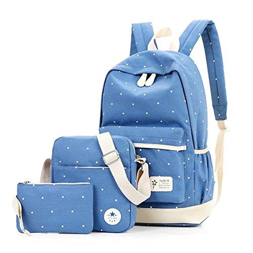 YiLianDa Scuola Superiore Zaino Donna Zainetto Zaini Scolastici Ragazze Borsa a Tracolla Borsa del Portafoglio Backpack Chiaro Blu