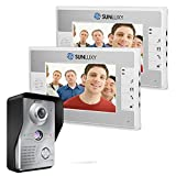 SUNLUXY Portier Vidéo Interphone Visiophone 7'' TFT LCD Coloré Sonnette d'Intercom Portier Carillon Electronique Surveillance Déverrouillage IR Vision Nocturne pour la Sécurité Maison ( 2 Moniteur)