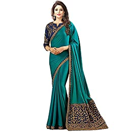 Women's Georgette Green Saree with Blouse Piece
