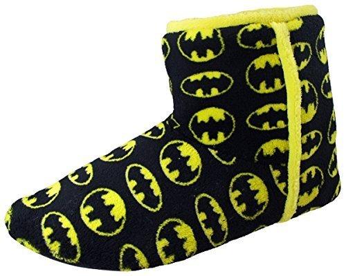 Batman Lusso Stivaletto Morbido Tessuto Slip On Nero Giallo Uomini Ragazzi Pantofole, Black/yellow, 46 (UK 12)