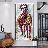 aicedu Nessuna Cornice Stampe E Quadri Grandi Originali Dipinti di Cavalli in Corsa Animali Domestici Arte Astratta Poster Immagini per Soggiorno Decorazioni per La Casa 50X70Cm