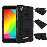 CASSIEY Polycarbonate Armour Rubber Bumper Kick Stand Back Case for Micromax Yu Yureka AO5510 / AQ5510 (Black)