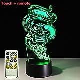LGZOOT LED 3D Ghost Nachtlichter 7 Farbe Schreibtischlampe Weihnachten Spielzeug Geschenk Valentinstag Geschenk,Remoteversion。