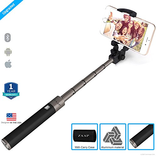 Zaap Nustar5 Aluminium(3Rd Generation) Bluetooth In-Built Remote Shutter Monopod Selfie Stick Compatible For All Smartphone (Black, Large)