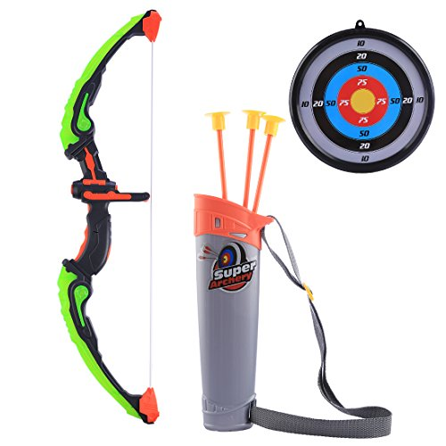 (Forweilai Luminous Bogen und Pfeil Spielzeug für Kinder Bogenschießen Set mit 3 Saugnapf Pfeile, Ziel und Schulter Strapped Quiver LED Light Up Funktion für Outdoor-Jagd-Spiel - (Grün))