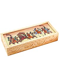 House Handicrafts Gift New Home Decor Carved Gemstone Painted Wooden Jewellery Box Handicraft Gift