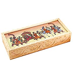 Halowishes Carved Gemstone Painted Wooden Jewellery Box Handicraft Gift