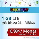 discoSURF Internet-Flat 1 GB LTE [SIM, Micro-SIM und Nano-SIM] monatlich kündbar (1 GB LTE mit max. 21,1 MBit/s, 6,99 Euro/Monat ) O2-Netz preiswert