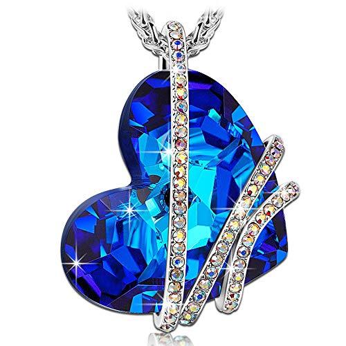 Kami idea regali san valentino donna collana venice love cristalli di swarovski blu gioielli per natale compleanno anniversario mamma lei madre