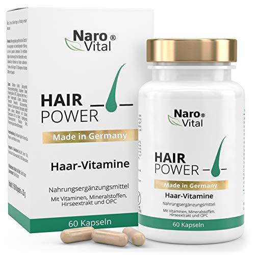 NaroVital Hair-Power - Hochdosiert 725 mg - Mit Biotin, Zink, Selen, Hirse, OPC & Mehr - Vegan - 60 Kapseln - Haar-Vitamine - Wertvolle Nährstoffe für Haare, Haut und Nägel