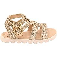 POMLIN Girls Sandals with Gold Glitter, Fashion Leather Sandals, Adjustable Kids Children Summer Sandals Glitter…