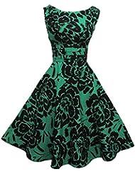 NUEVO Rosa rosa 1940's 50' s estilo verde y negro diseño de flores Rockabilly Fiesta Prom Vestido