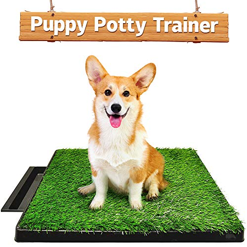 Hompet Dog Toilet Indoor Puppy Training Pad, Dog Potty Pet Training Grass Mat, Removable Waste Tray For Easier Clean Up, Non-toxic Artificial Turf, 63cm x 51cm