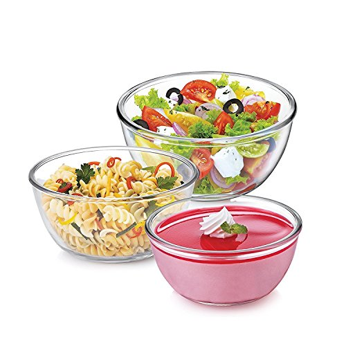 Treo Borosilicate Microwave Safe Mixing Glass Bowl , 500, 1000, 1500 ml ,White - Combo of 3
