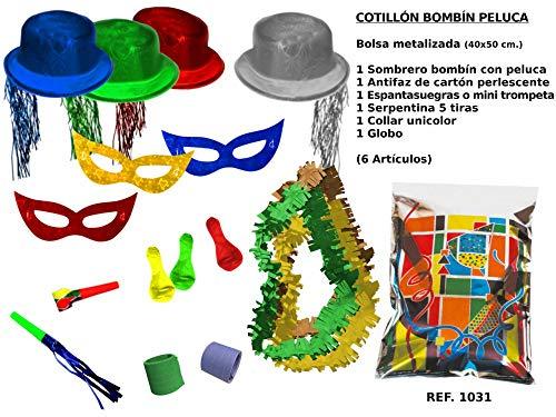 CAPRILO Lote de 10 Bolsas de Cotillones Decorativas Bombín-Peluca. Cotillón para Fiestas y Eventos. Decoración Original para Bodas, Comuniones,Cumpleaños y Fin de Año(Nochevieja).