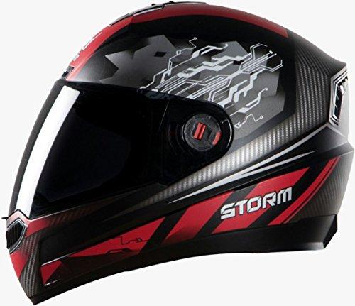 Steelbird Storm Full Face Designer Helmet , Black Red , Tinted Visor , L-600 MM