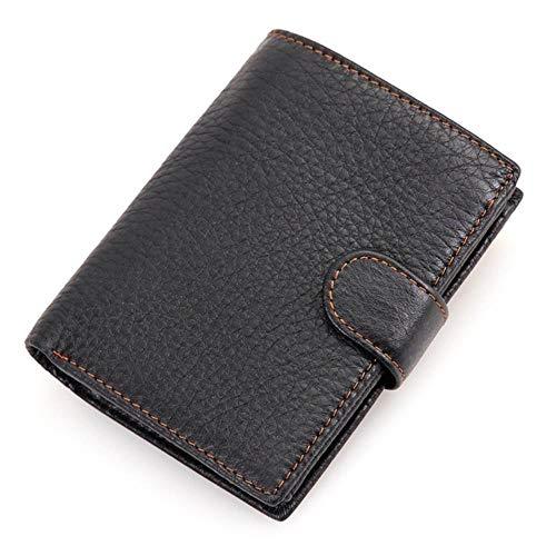 Sxcyu Retro Clutch Bag Wallet Herren First Layer Leder Herren Card Pack Multi-Card Wallet Wallet Geldbörse, Schwarz