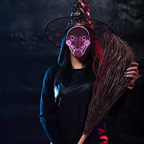 (Nie-hu LED Halloween Clown Glühende Maske Kaltes Licht Kunststoff Street Dance Maske Scary Tod Schädel Maske Kürbis Maske Weihnachtsmann Maske für Festival Cosplay Weihnachten Halloween-Kostüm)