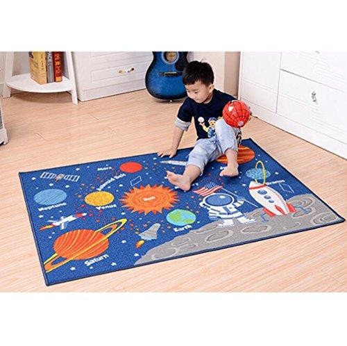 TWGDH Kinder/Kind Teppich Rechteckige Krabbeln Matten Planet Design Rutschfeste Fläche Teppich Spielmatte, Blau (100 * 137 cm) -