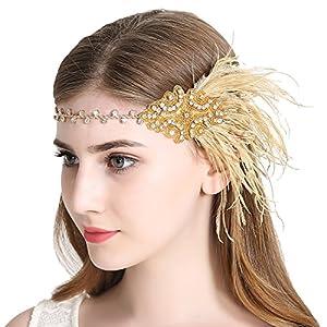 JaosWish Vintage Gold Flapper Headband 1920s Art Deco Sparkling Headband Gatsby Feather Headpiece