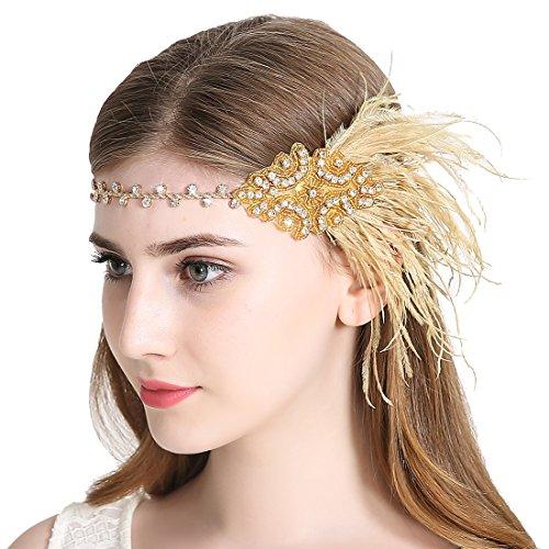 JaosWish Vintage Gold Flapper Stirnband 1920er Art Deco Sparkling Stirnband Gatsby Feder Kopfschmuck