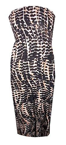 Janisramone delle signore delle donne più il formato Sheering Boobtube a fascia senza spalline Top Vest Dress 8 22 Serpente