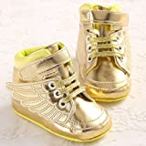 Bluelover Golden Black Wings Cool Culla Ragazzo Ragazza Toddler Scarpe - Oro 6-12M