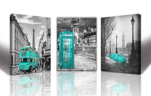 gubaidao Paris Decor Wandbild für Wohnzimmer London Big Ben Tower Leinwanddrucke Bilder für Schlafzimmer Schwarz Weiß Morden Leinwandbild Giclee Europa Gebäude Bild Wanddekoration für - Teal Grau-wand-kunst