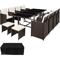 TecTake Conjunto muebles de jardín en ratán sintético comedor juego 8+4+1 + funda completa   tornillos de acero inoxidable (Marrón antigüedad   No. 402833)