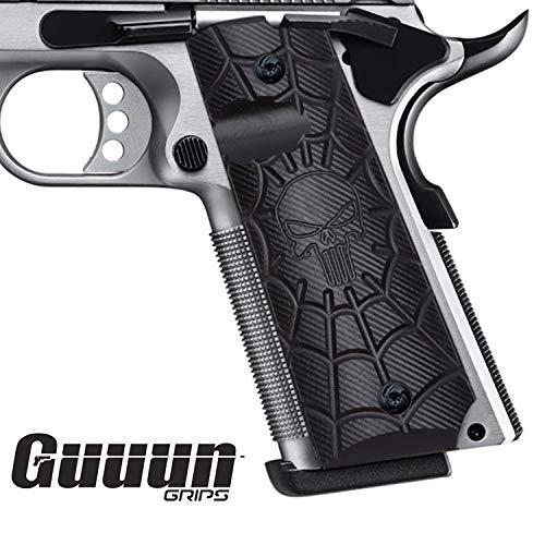 Guuun 1911 Gun Zubehör Full Size Pistolen-Hartschalenkoffer, Custom Cobweb Skull Texture G10 Material Ambi Safety Cut Gun Griff (Gun Griffe Custom)